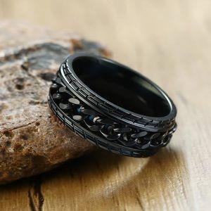 ⚜️New⚜️ Men's 8mm Black Spinning Chain Ring